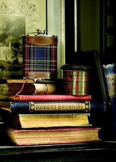 tartan flask, ribbon and Browning, could've been Robbie Burns.--------Altho I don't drink I've a wee flask like this in the Burberry tartan. And have copies of both Browning and Burns. English Manor, English Style, English Cottages, Perth, Equestrian Style, Equestrian Decor, Book Nooks, Reading Nooks, Downton Abbey