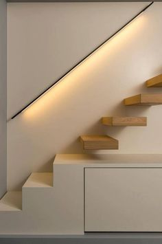 Light rail, stair detail, contemporary style, hidden storage