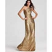 David Meister One Shoulder Metallic Gown  Look the part of the gilded goddess in this sweeping David Meister one-shoulder gown. Polyester; lining: polyester Gentle dry clean Made in USA of imported materials One-shoulder silhouette Concealed side zip