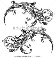 Vector vintage baroque engraving floral scroll filigree design frame border acanthus pattern element at retro grunge damask background. Vint...