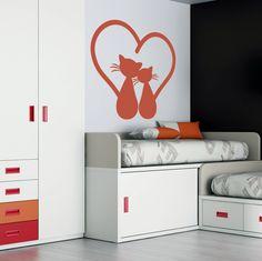 Vinilo decorativo de la imagen de una pareja de gatos muy enamorados.  Gatitos Enamorados ac5c70f30892