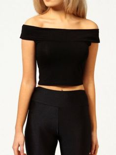 Boat Neck Crop Black Top 8.90
