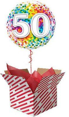 Rainbow Confetti 50th Birthday Balloon Gift Gifts For 18th Birthday, 80th Birthday, 60th Birthday Balloons, Balloon Gift, Helium Balloons, Confetti, 50th, Rainbow, Birthdays