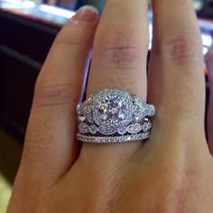 Gabriel & Co Vintage Style engagement ring with wedding band stack