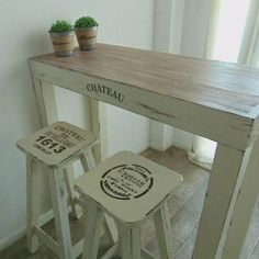 Taburete - Banqueta - Hierro Y Madera - Moderna Industrial - $ 1.190,00 Cool Furniture, Painted Furniture, Furniture Design, Wood Bar Stools, French Cafe, Painted Chairs, Cafe Interior, Dining Room Design, Table And Chairs