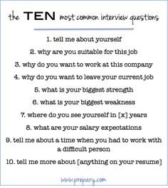 The 10 most common interview questions and tips for successfully answering them.