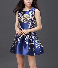 Slim Skirts Summer Palace Retro Print Dress --C
