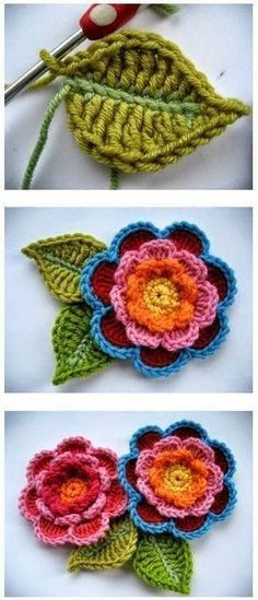 Crochet Puff Flower Crochet Beautiful Triple Layer Flower Free Pattern and Tutorial - This colorful Crochet Triple Layer Flower come with leaves looks stunning. You can use these beautiful crochet flowers as ornaments for a lot of things. Beau Crochet, Crochet Puff Flower, Crochet Flower Tutorial, Crochet Flower Patterns, Love Crochet, Beautiful Crochet, Crochet Flowers, Knitting Patterns, Knit Crochet