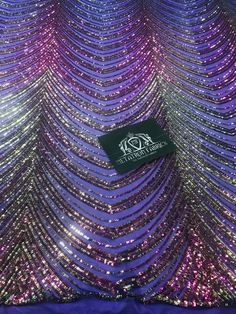 Sequins in Lines - Purple / Gold - Iridescent 4 Way Stretch Two Tone Color Design Sequins Fabric Sequin Fabric, Mesh Fabric, Lace Fabric, Hand Embroidery Design Patterns, Line Patterns, Saree Designs Party Wear, Iridescent Fabric, Gala Dresses, Formal Dresses