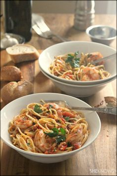 Spicy Shrimp (fra diavolo) - Shrimp, Olive Oil, Red Pepper Flakes, Shallots, Garlic, Crushed Tomatoes, Green Olives, Oregano)