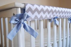 Reversible Crib Teething Guard in Grey and by SewingPaperTrails, $38.00