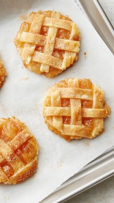 We combined two of our all-time favorite, all-American desserts (apple pie and cookies!) for a sweet treat mash-up everyone will love. Mini pie crusts get topped with apple-pie filling, a sprinkle of cinnamon, and a lattice topping!