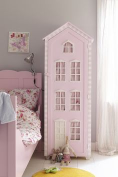 Love the pink bed with grey walls and white floor