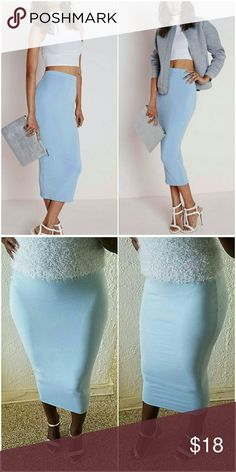 Missguided Longline Midi Skirt Baby blue midi skirt. Worn 1x. Brand new condition. Missguided Skirts Pencil