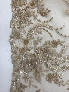 Design Beaded Mesh Lace Fabric Bridal Wedding Gold Sold By Hand Embroidery Dress, Gold Embroidery, Hand Embroidery Designs, Embroidery Jewelry, Bridal Lace Fabric, Sequin Fabric, Fabric Beads, Fabric Jewelry, Couture Beading
