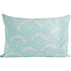 A stylish finishing touch for your favorite arm chair or living room sofa, this lovely pillow showcases a geometric applique in baby blue.  ...