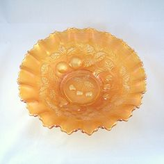 Carnival Glass Bowl  Northwood Three Fruits Marigold Orange