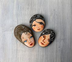 Painted stones. 3 Beach stones. girl portrait ooak by sabiesabi, $40.00