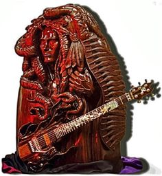 This is a Stevie Vai guitar sculpture i am still working on, the guitar is attached with strap locks and is functional Drums, Locks, Guitars, Addiction, Darth Vader, Sculpture, Music, Fictional Characters, Musica