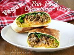 Pan-Fried Vegan Cheeseburger Wrap - good inspiration! frozen soy mince, shallot or onion, garlic clove, smoked sea salt, black pepper, vegetable oil, white wrap (I'd use flax), vegan unprocessed cheese (I'd use regular), lettuce, dill pickle slices, yellow mustard