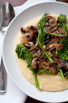 Polenta with Mushrooms and Flowering Brassica | Cafe Johnsonia