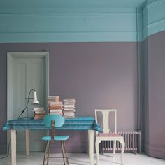 I love the idea of getting to use 2 colors in a room this way instead of with an accent wall. farrow & ball new paint colors Two Tone Walls, Half Walls, Trending Paint Colors, New Paint Colors, Wall Colors, Color Walls, Flur Design, Home Design, Design Ideas