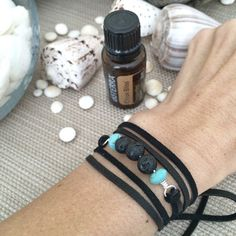 Black Lava Rock Leather Wrap Diffuser Bracelet by SimplyQuinns