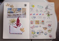 """I love the combination of found """"scrapbook"""" objects and the pen and ink drawings. Moleskine, Sketchbook Inspiration, Sketchbook Ideas, Artist Sketchbook, Creative Journal, Art Journal Pages, Art Journals, Mail Art, Watercolor Illustration"""