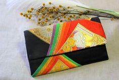 Japanese Kimono Obi Clutch Bag Embroidery Bags, Weaving Textiles, Vintage Kimono, Floral Kimono, Japanese Kimono, Vintage Japanese, Silk Fabric, Red Gold, Etsy Vintage