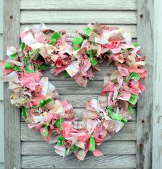 "To make your own version of a rag wreath, you will need:   Fabric scraps torn into 5"" strips about 1"" width   Wire wreath form with multiple wires   A wire or string for the back to create a hanger to hang the wreath   Rag Wreath:   Prepare your fabric strips by tearing or cutting strips in 5"" by 1"" pieces.  You will need many of them.  To make some of them different in texture, you may try cutting some with pinking shears."
