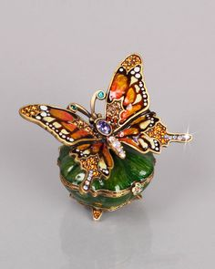 Jay Strongwater 'Joyce' Green Enamel Box w/Orange Butterfly inset with Crystals ♥≻★≺♥