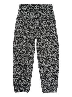 Give her weekend collection a contemporary update with these hareem style trousers. Featuring a relaxed fit and paisley elephant print, they are ideal for creating casual summer looks. Girls black hareem elephant print Stretch material Relaxed fit Paisley elephant print Folded waistband Elasticated cuffs Keep away from fire