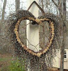 Spring Wreath Summer Wreath Twig Wreath Cedar Rose by BeezDream,