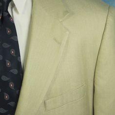 Alexander Lloyd Mens 56L Khaki Herringbone 100% Silk Blazer Sportcoat Jacket EXC #AlexanderLloyd #TwoButton