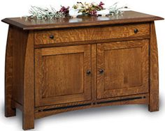 Crafted Shaker and Mission Furniture  Enclosed Boulder Creek Sofa Table: Oak