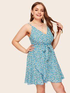 Plus Size Ditsy Floral Cami Dress Plus Size Winter Outfits, Plus Size Fashion For Women, Plus Size Outfits, Wedding Dresses Plus Size, Plus Size Dresses, Natural Clothing, Knot Dress, Ditsy Floral, Spaghetti Strap Dresses