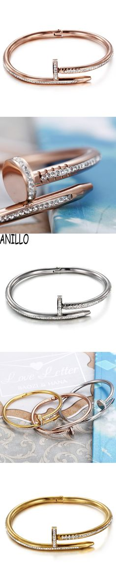ANILLO Brand Pulseira Irregular Gold Color  Bangles Stainless Steel Screw Bracelet Women 3 Colour Jewelry