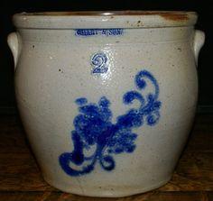 Antique C. Hart & Son Stoneware Two Gallen Blue Floral Decorated Crock w Handles #CHartandSon