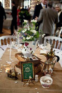 Théière pour vase et déco de table de mariage