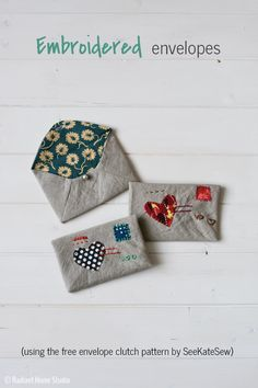 Use the free Envelope Clutch pattern by See Kate Sew to make some mini embroidered fabric envelopes for jewelry! Learn how to shrink it and add embroidery.