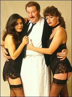 Vicki Michelle & Francesca Gonshaw from Allo Allo. Nylons, Vicki Michelle, Celebrities In Stockings, Stocking Tops, British Comedy, Comedy Tv, Cinema, Vintage Tv, Sexy Stockings