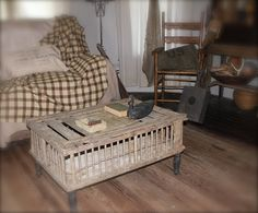 Vintage Wooden Chicken Crate Table With Legs