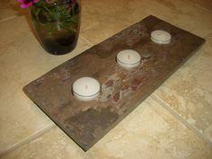 three tealight slate floating candle holder by StonefishDecor, $15.00