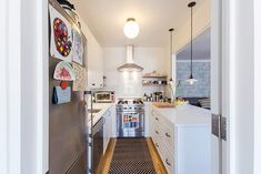 Chris and Amber's Sweetened Kitchen Renovation - Homeowner Guest Post Real Kitchen, Kitchen Decor, Kitchen Design, Mini Kitchen, Kitchen Island, Galley Kitchens, Home Kitchens, Apartment Therapy, Small Gallery Kitchen