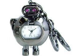 Tokyo Bay Sparkle Robot Clock Keyring: I love robots! 2' with moveable arms, in black or silver. $24.