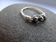 Pyrite and silver plated wire ring