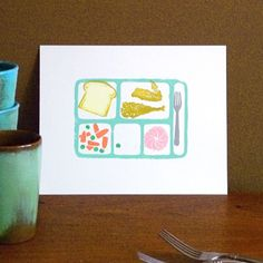 There's just something about this that I love. Cafeteria Tray print from MrsLoaf on Etsy, $18