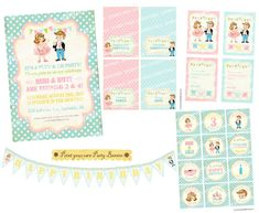 Digital PRINTABLE Vintage Tutus & Ties Boy Girl Twin Joint Celebrate Birthday Tea Party Friends Banner Invitation Label Card Tag PP20