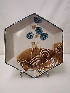 Mid-Century Art Pottery Studio - Floral Octagonal Signed Dish in Blues & Browns Pottery Studio, Pottery Art, Mid Century Art, Blue Brown, Blues, Dishes, Floral, Ebay, Vintage