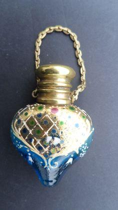 Antique Turquoise Gilt & Enamel Heart Shape Chatelaine Perfume Scent Bottle C1880